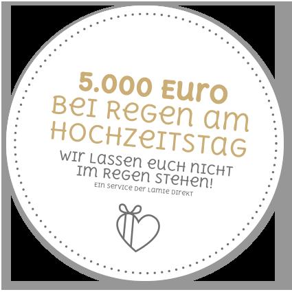 5000 Euro bei Regen am Hochzeitstag - die Regenwetterversicherung machts möglich.